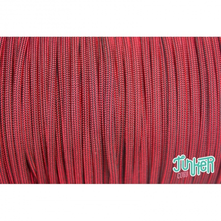 Meterware Type III 550 Cord, Farbe IMPERIAL RED & BK STRIPE