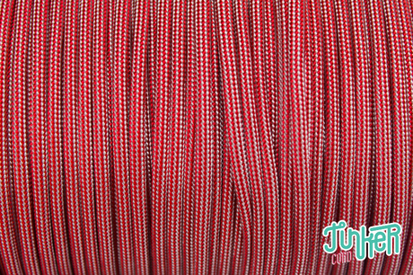 Meterware Type III 550 Cord, Farbe IMPERIAL RED SILVER GREY STRIPE