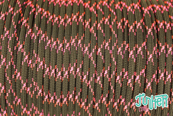 150 Meter Rolle Type III 550 Cord, Farbe BLACK & NEON PINK X