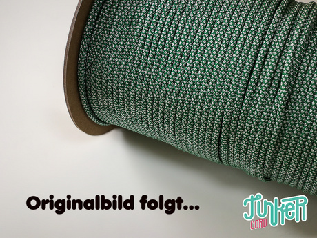 150 Meter Rolle Type III TINKER Cord, Farbe KELLY GREEN & WHITE DIAMONDS