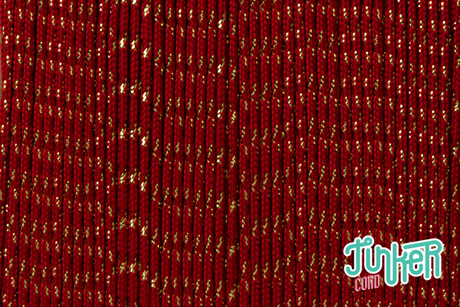 150 Meter Rolle Type II TINKER Cord, Farbe IMPERIAL RED & GOLD METALLIC