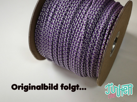 150 Meter Rolle Type II TINKER Cord, Farbe WHITE & LILAC DIAMONDS