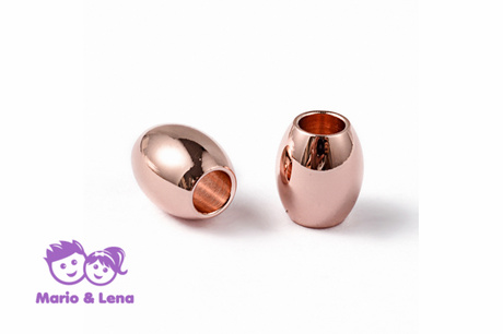 TYP2 Perle mit Loch Rosegold Oval 7x6 mm, Bohrung: 3mm