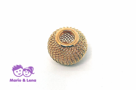 Korbball Perle Cream Gold 14x14mm